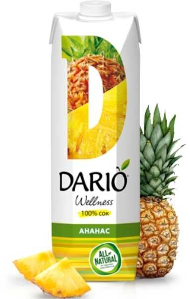 изображение Сок DARIO Wellness Ананас 1л без сахара от интернет-аптеки ФАРМЭКОНОМ